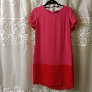 pink & red block color dress.